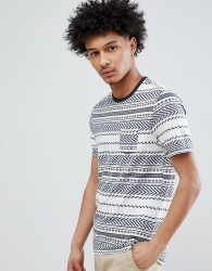Celio T-Shirt With Textured Stripe - Blue