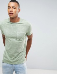 Celio Washed T-Shirt With Pocket - Green