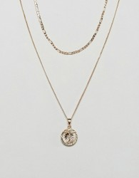 Chained & Able Gold Mini Crucifix Medallion Figaro Pack Necklace In Gold Exclusive To ASOS - Gold