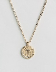 Chained & Able Old English Sovereign Medallion Necklace In Gold - Gold