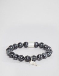 Chained & Able Silver Hanging Wing Beaded Bracelet In Black - Black