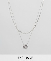 Chained & Able Sovereign Mini Medallion Layer Necklace In Silver Exclusive To ASOS - Silver