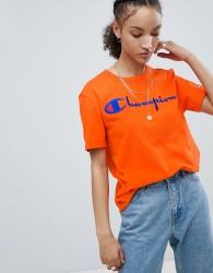 Champion Crewneck T-Shirt With Script Logo - Orange