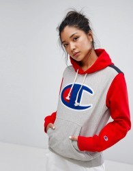 Champion Hoodie With Colour Block & Front Logo - Grey