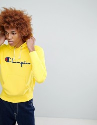 Champion Hoodie With Large Logo In Yellow - Yellow