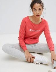 Champion Logo Boat Neck Sweatshirt - Pink