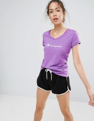 Champion Logo V-Neck T Shirt - Purple