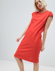 Champion mIDI Dress With Small Logo Detail - Red
