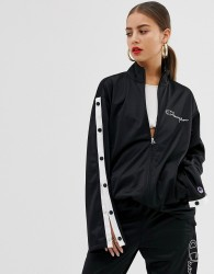 Champion popper tracksuit jacket with front logo co-ord - Black