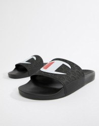 Champion sliders with large logo in black - Black