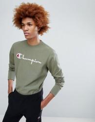 Champion Sweatshirt With Large Logo In Khaki - Green