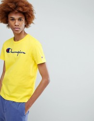 Champion T-Shirt With Large Logo In Yellow - Yellow