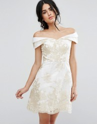 Chi Chi London A Line Dress In Metallic Lace Embroidery - Cream