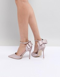 Chi Chi London Bow Back Heels in Satin - Pink