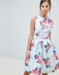 Chi Chi London Bow Back Midi Prom Dress in Floral Print - Multi