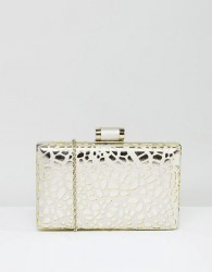 Chi Chi London Box Clutch Bag In Cutwork Metallic - Silver