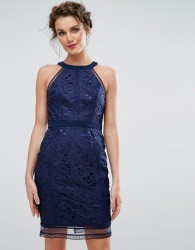 Chi Chi London Cutwork Lace Pencil Dress - Navy