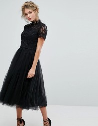 Chi Chi London High Neck Lace Midi Dress With Tulle Skirt - Black