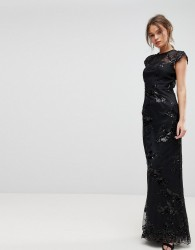 Chi Chi London High Neck Sequin Lace Maxi With Cap Sleeve - Black