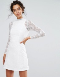 Chi Chi London Lace A Line Mini Dress with Long Sleeves - White