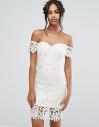 Chi Chi London Lace Bandeu Midi Dress with Sweetheart Neck - White