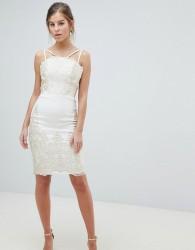 1be996e936c3 Chi Chi London Lace Detail Pencil Midi Prom Dress with V Back - Cream