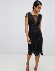 Chi Chi London lace pencil dress with v neck in black - Black
