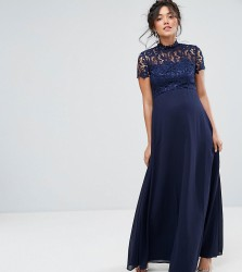 Chi Chi London Maternity 2 in 1 High Neck Maxi Dress with Crochet Lace - Navy