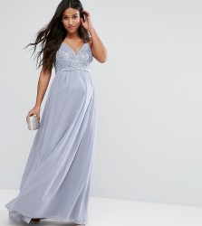Chi Chi London Maternity Cami Strap Maxi Dress with Premium Lace - Grey
