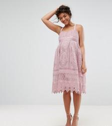 Chi Chi London Maternity Crochet Cami Midi Dress - Pink