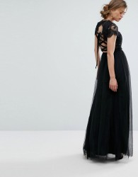 Chi Chi London Maxi Tulle Dress with Lace Up Back - Black