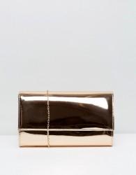 Chi Chi London Metallic Flap Clutch Bag - Gold