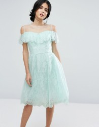 Chi Chi London Midi Dress In Eyelash Lace With Frill Overlay - Green