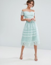 Chi Chi London Midi Skirt In Panelled Lace - Green