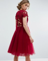 Chi Chi London Midi Tulle Dress with Lace Up Back - Red