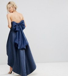 Chi Chi London Petite Bandeau Midi Dress with Exaggerated Bow Back - Navy