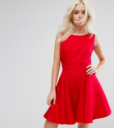 Chi Chi London Petite Fit and Flare Mini Dress with Seam Detail - Red