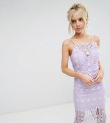 Chi Chi London Petite High Neck Lace Midi Dress with V back - Purple