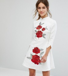 Chi Chi London Petite Jaquard Mini Dress with Mandarin Neck and Rose Embroidery - White