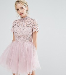 Chi Chi London Petite Lace Top Full Prom Mini Dress With Tulle Skirt - Pink