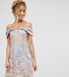 Chi Chi London Petite Premium Lace Bardot Mini Dress - Grey