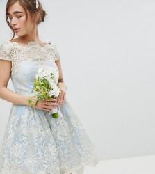 Chi Chi London Petite Premium Lace Midi Prom Dress with Bardot Neck - Blue