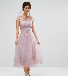 Chi Chi London Petite Premium Lace Midi Prom Dress with Lace Neck - Brown