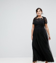Chi Chi London Plus Maxi Tulle Dress with Lace Up Back - Black