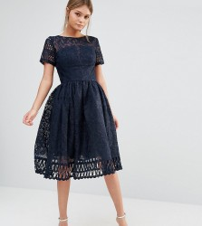 Chi Chi London Premium Lace Dress with Cutwork Detail and Cap Sleeve - Navy