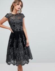 Chi Chi London Premium Lace High Low Dress - Black