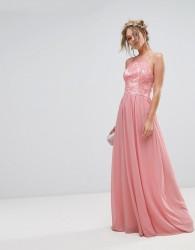 Chi Chi London Premium Lace Maxi Dress With Chiffon Skirt - Pink