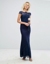 Chi Chi London Premium Lace Maxi Dress with Fishtail - Navy