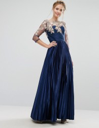Chi Chi London Premium Lace Maxi Dress With Pleated Metallic Skirt - Navy