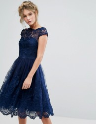 Chi Chi London Premium Lace Midi Dress With Cap Sleeve - Navy